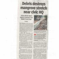 Debris destroys mangrove stretch near civic HQ – Times of India, Navi Mumbai dated 12th January 2018