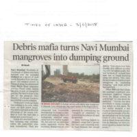 Debris mafia turns Navi Mumbai mangroves into dumping ground – Times of India, Navi Mumbai dated 03rd April 2018
