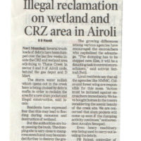 Illegal reclamation on wetland and CRZ area in Airoli – Times of India, Mumbai dated 14th January 2018