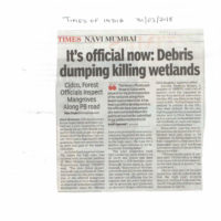 It's official now Debris dumping killing wetlands – Times of India, Navi Mumbai dated 31st March 2018
